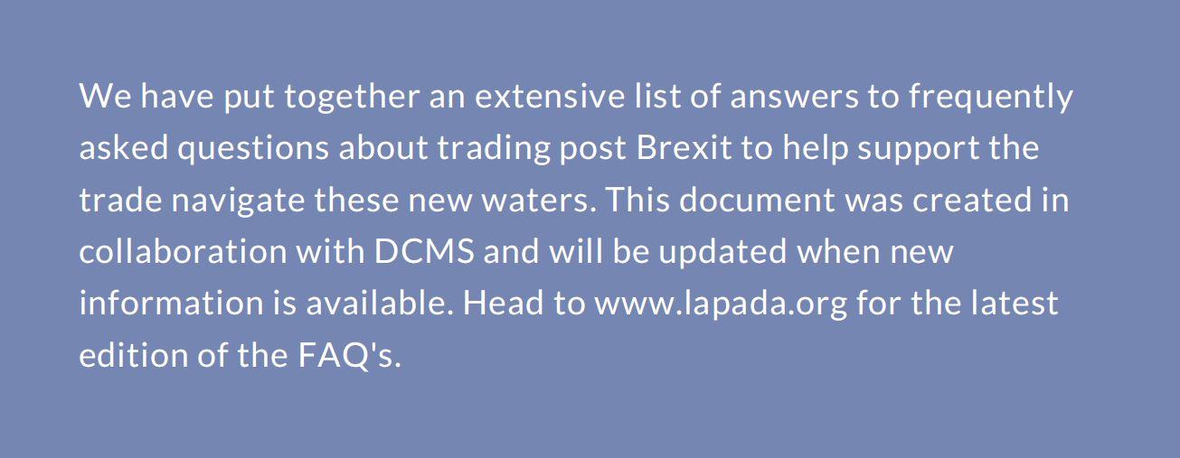 LAPADA Trading Post Brexit: FAQS