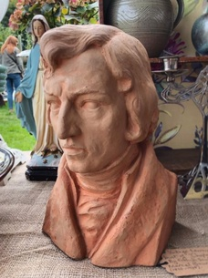 Vintage terracotta bust of Chopin