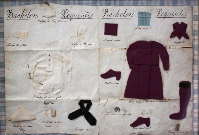 19th Century Framed Needlework 'Batchelors Requisites' from Molly and Maud's Place.