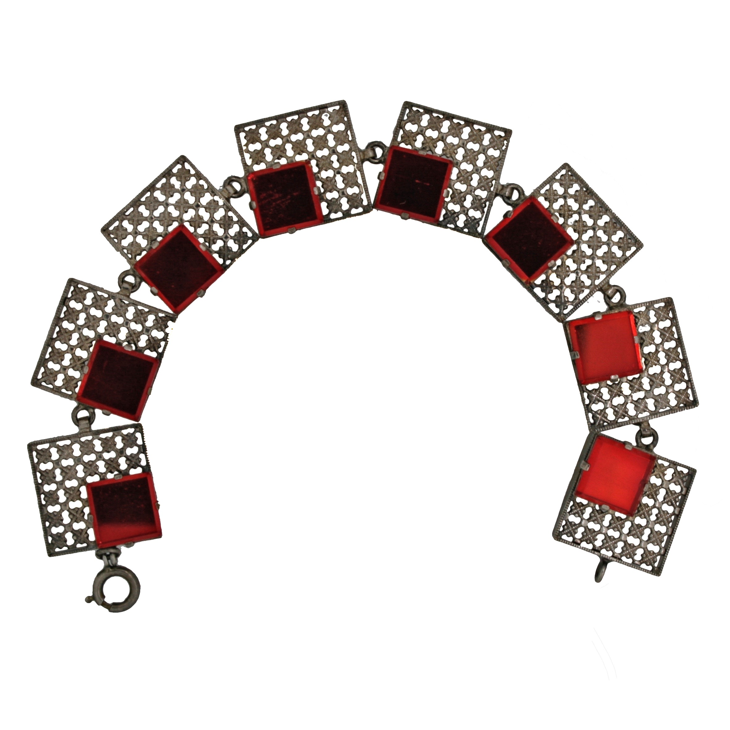 Gemma Redmond Vintage: Silver tone open-work bracelet with red mirrored panels, French origins, 1920s.