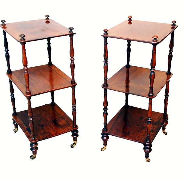 2. LR TIMMS ANTIQUES Rosewood pair of whatnots