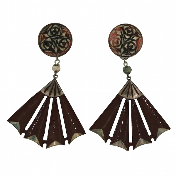 Gemma Redmond Vintage: Brown celluloid and handpainted earrings by Auguste Bonaz, 1920s