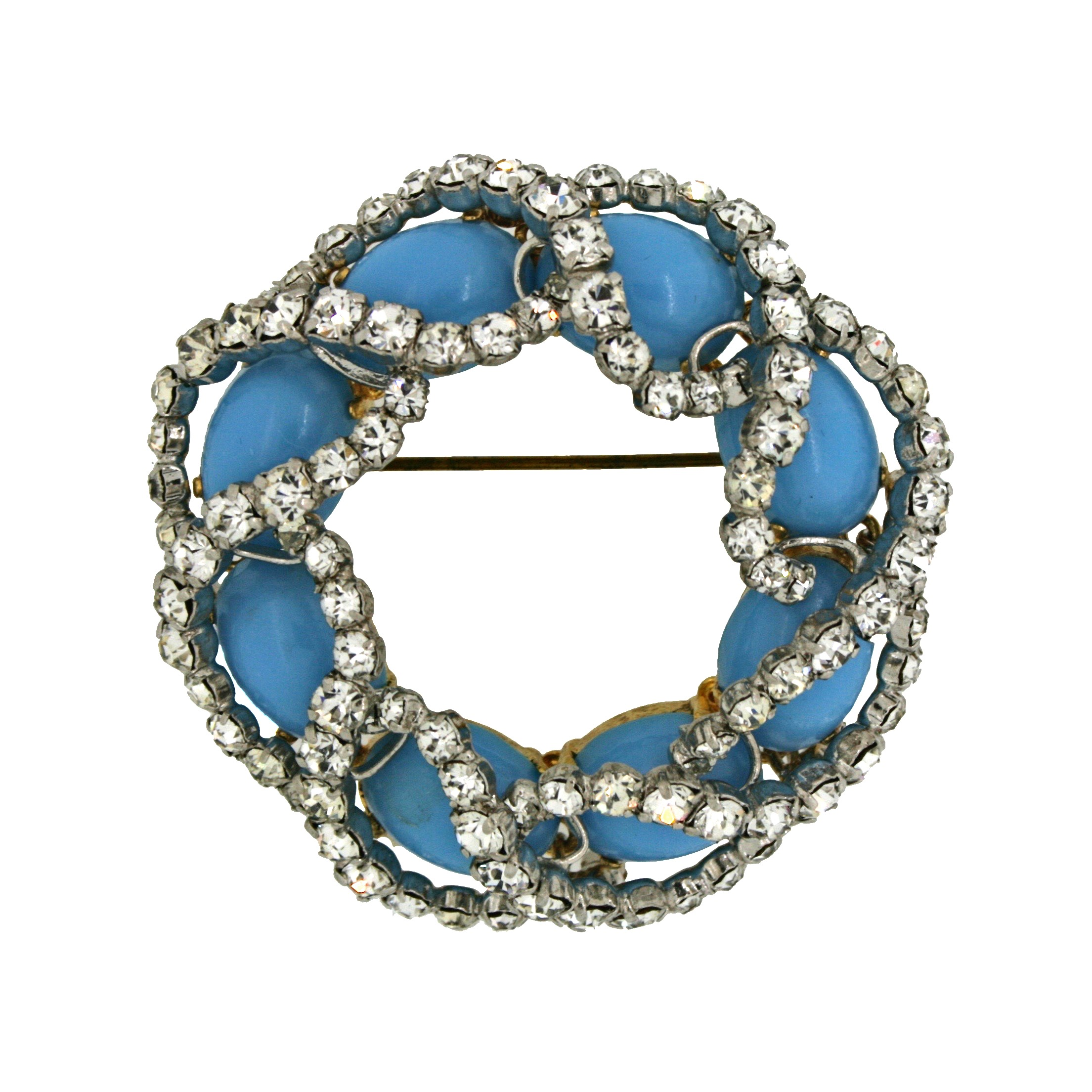 Gemma Redmond Vintage: Faux turquoise and rhinestone brooch on gold tone metal by Christian Dior, 1963.