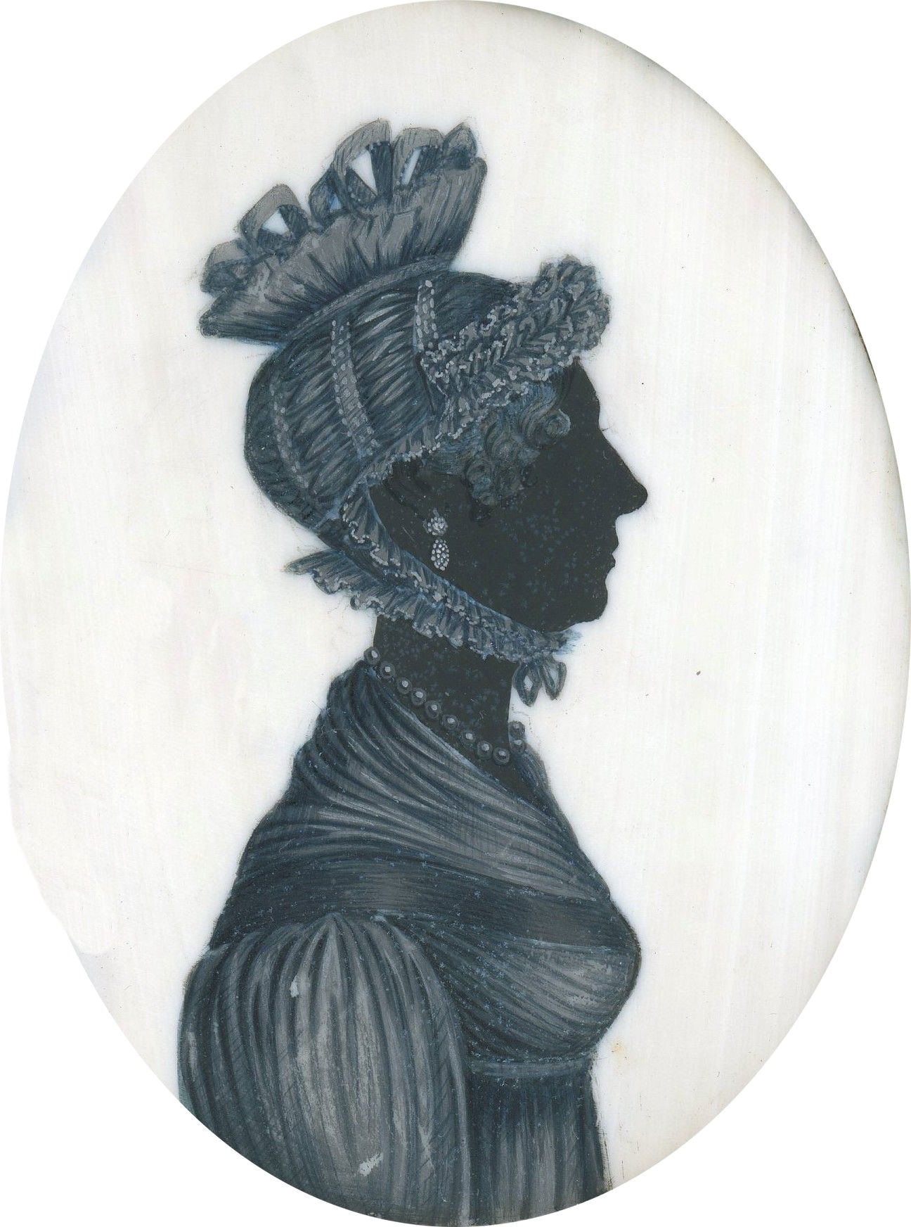 Silhouette of a lady in a lace-trimmed cap painted on ivory by T. London, circa 1800-1810. £280. Exhibitor: Wigs on the Green
