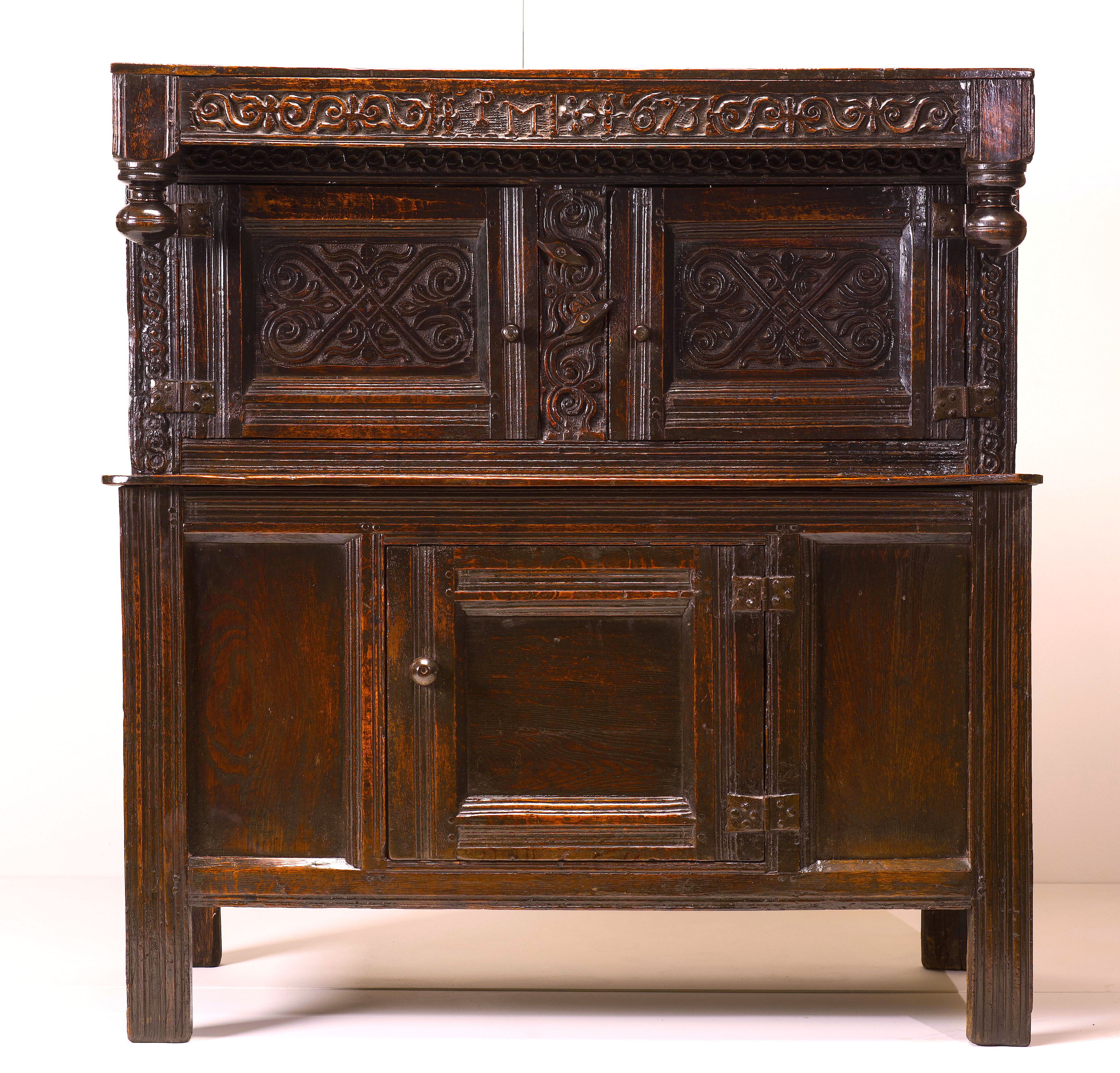 Rare 17th century child's press cupboard