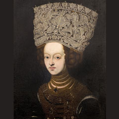 European marriage portrait of a young noblewoman, with bejewelled bodice and pearl headdress (circa 1650)