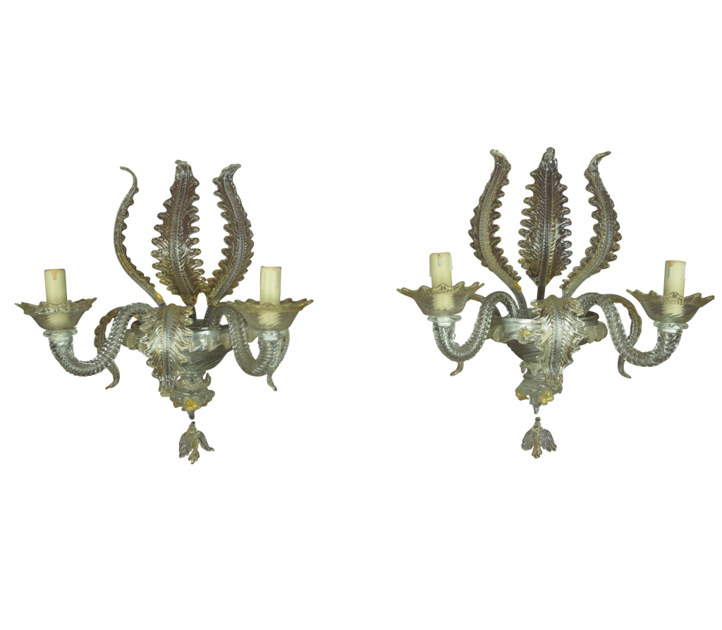 Fontaine Decorative - Italian, Mid C20th Pair of Murano Glass Wall Lights
