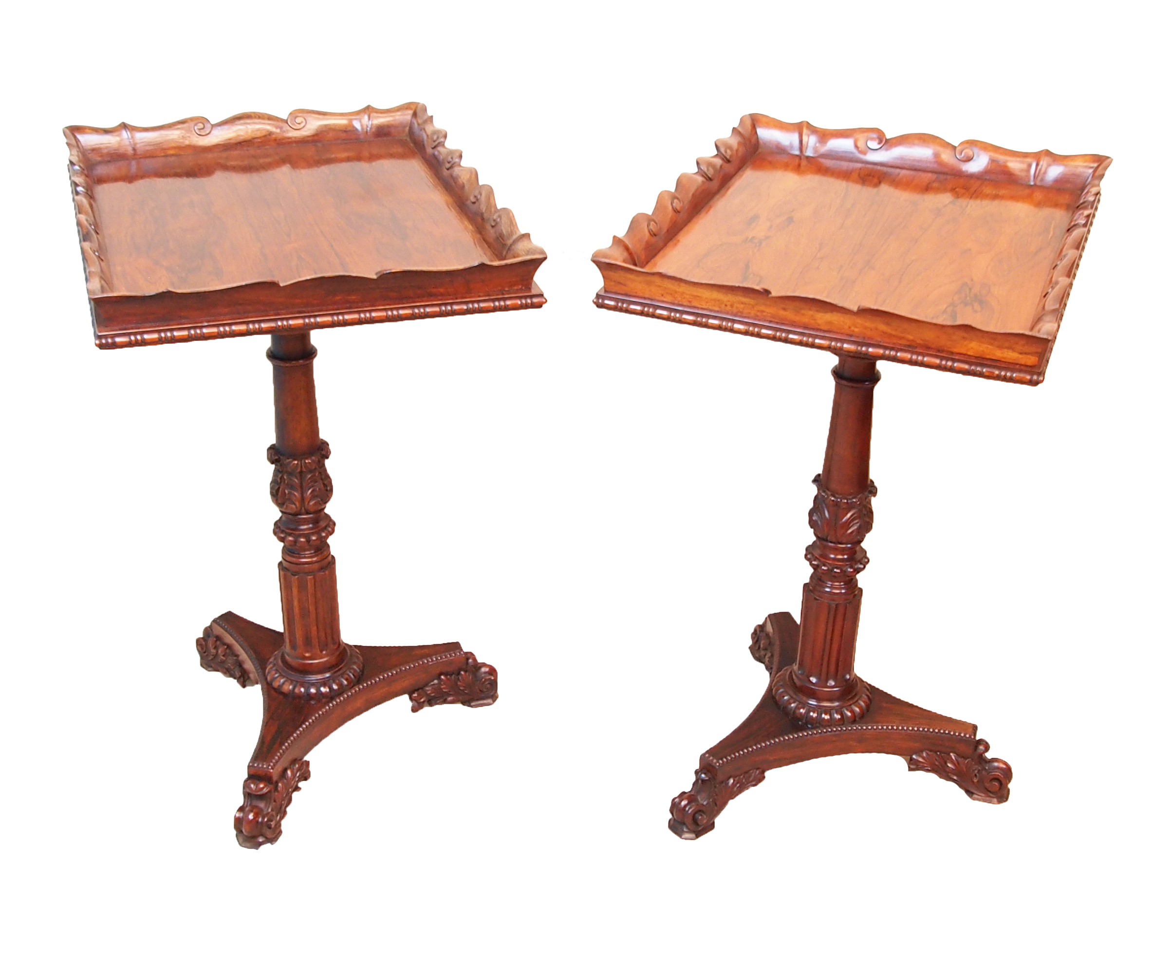 S&S Timms Antiques: Regency rosewood lamp tables, attributed to Gillows of Lancaster and London, £18,500.