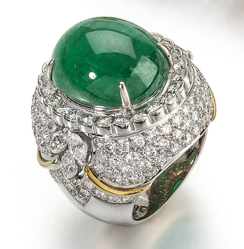 The Gilded Lily: 18ct white gold, diamond and emerald dress ring, 1960s, £19,500.