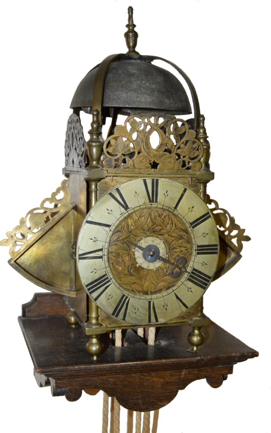 Rare early Lantern clock from Kembery Clocks, priced at £10,500