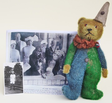 Rare German Clown Teddy from dealers Erna Hiscock & John Shepherd for £950