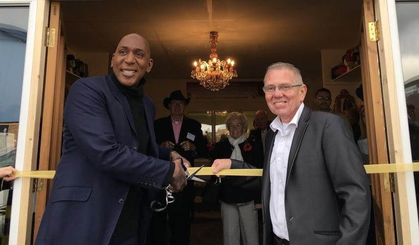 Terry Woodcock & actor Colin McFarlane at grand opening of Unique Actions' new premises