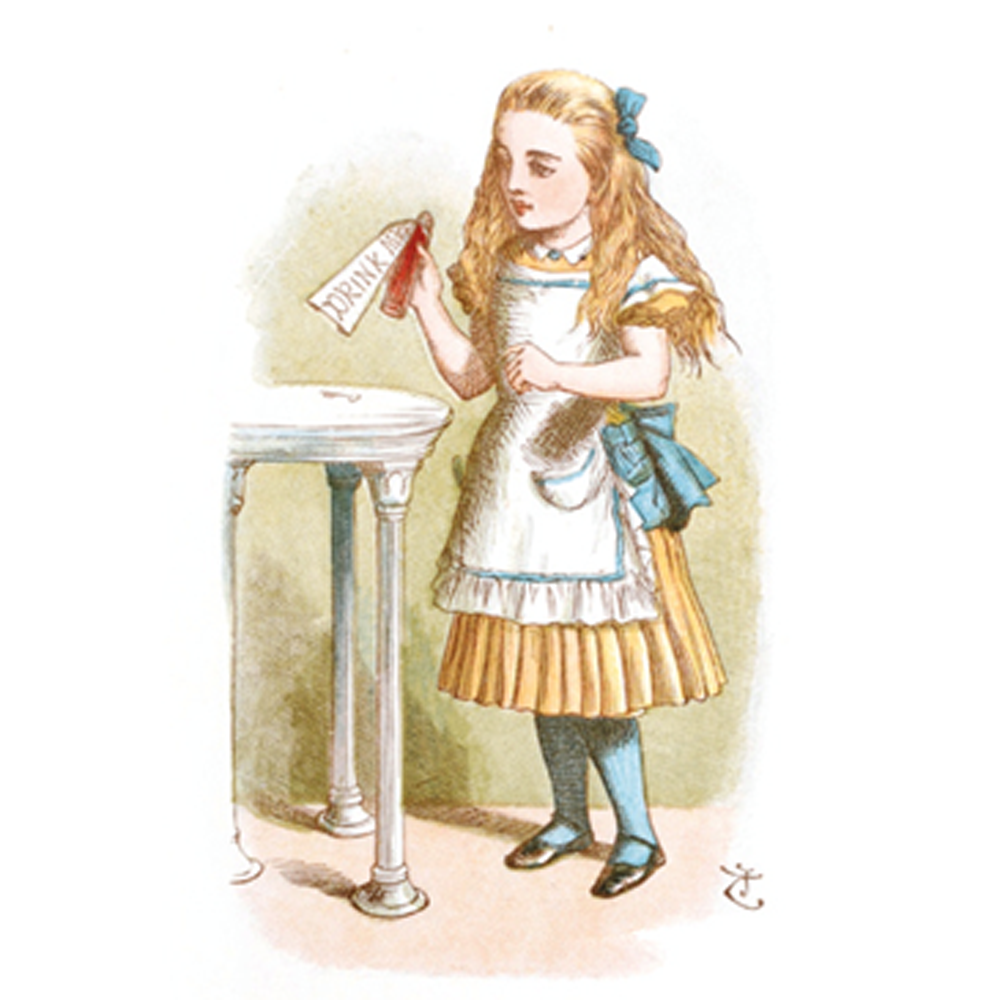A depiction of Alice, from the adventures penned by Lewis Carroll
