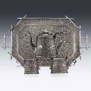 19th century Indian cutch solid silver tea set on tray, £7,595 from Pushkin Antiques